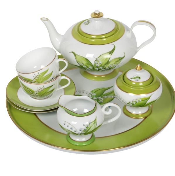 Service à thé Muguet en porcelaine de Limoges, Maison Laure Sélignac