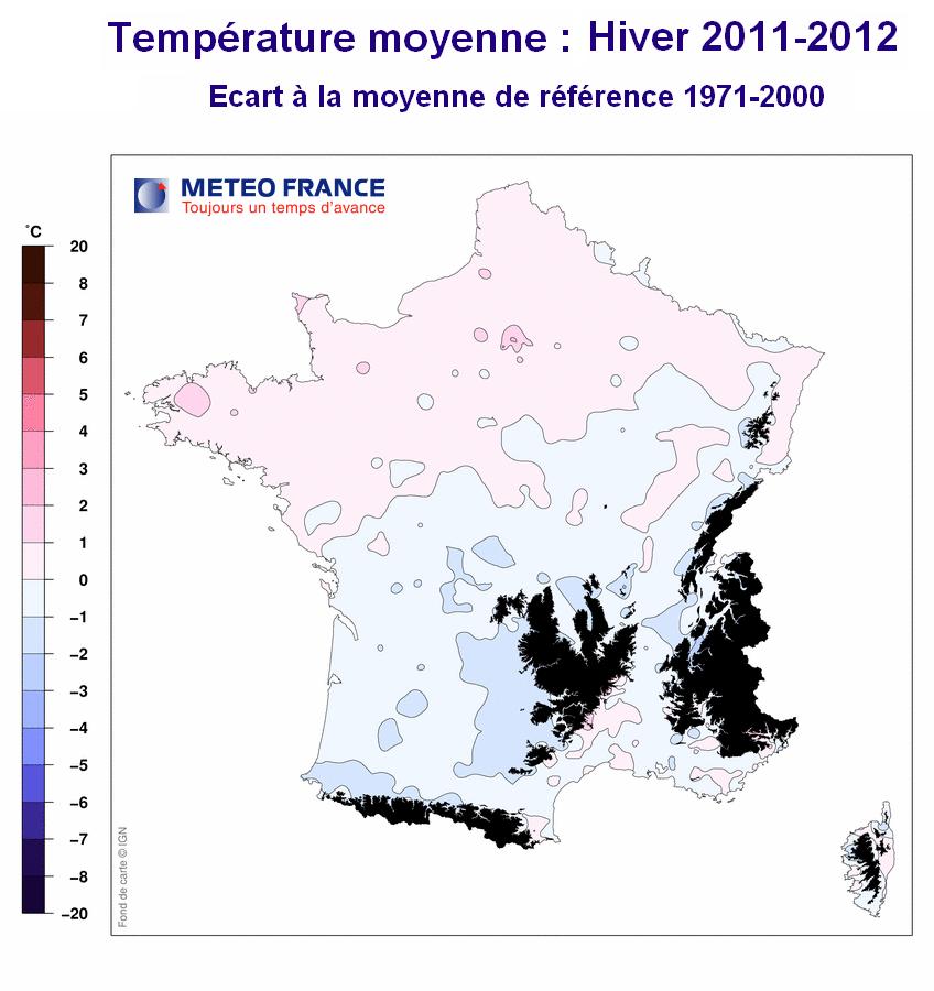 Carte des températures moyennes en France : hiver 2011-2012 (Météo France)