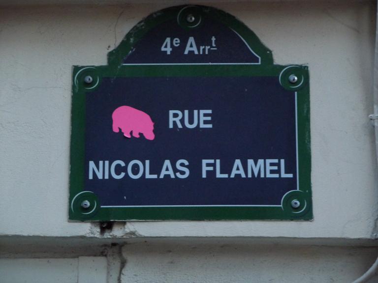Plaque de la rue Nicolas Flamel, Paris 4e (75)
