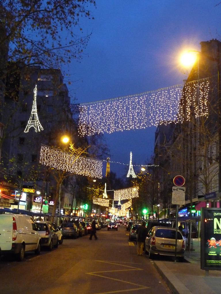 Illuminations dans la rue Saint-Charles avec la Tour Eiffel à l'arrière-plan, Paris 15e (75), 29 décembre 2011, photo Alain Delavie