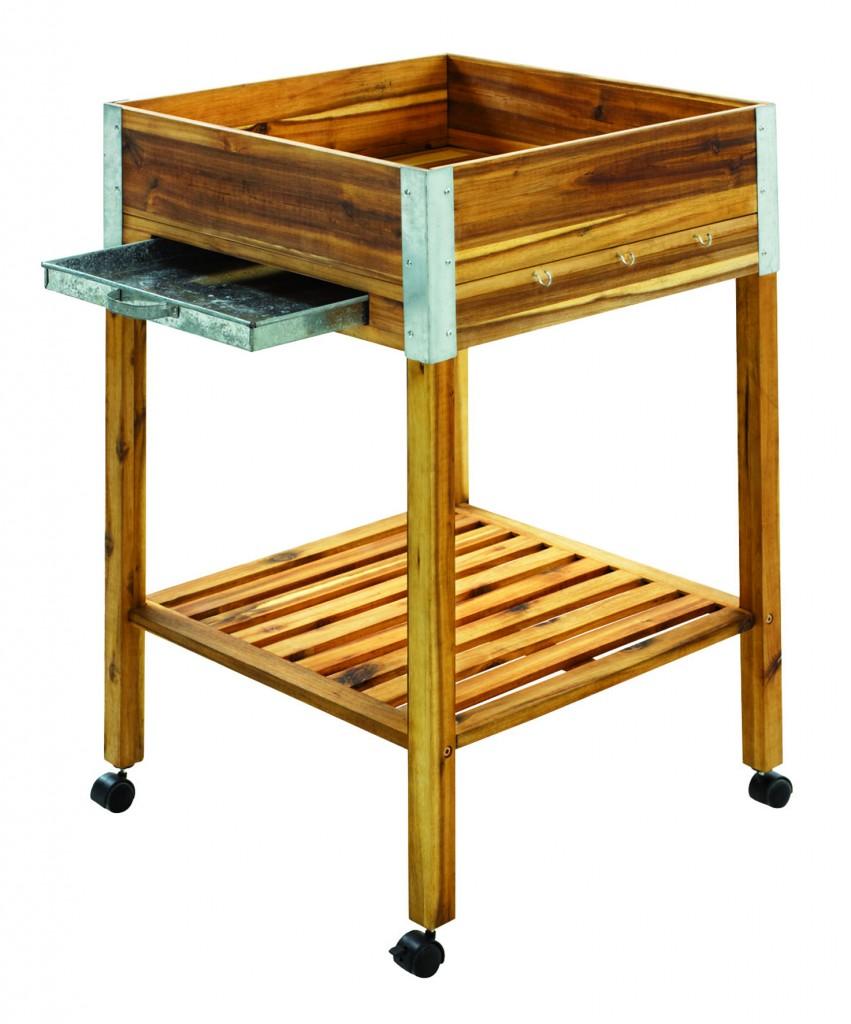 Potager en carré surélevé : la table potagère sur roulettes de Nature & Découvertes