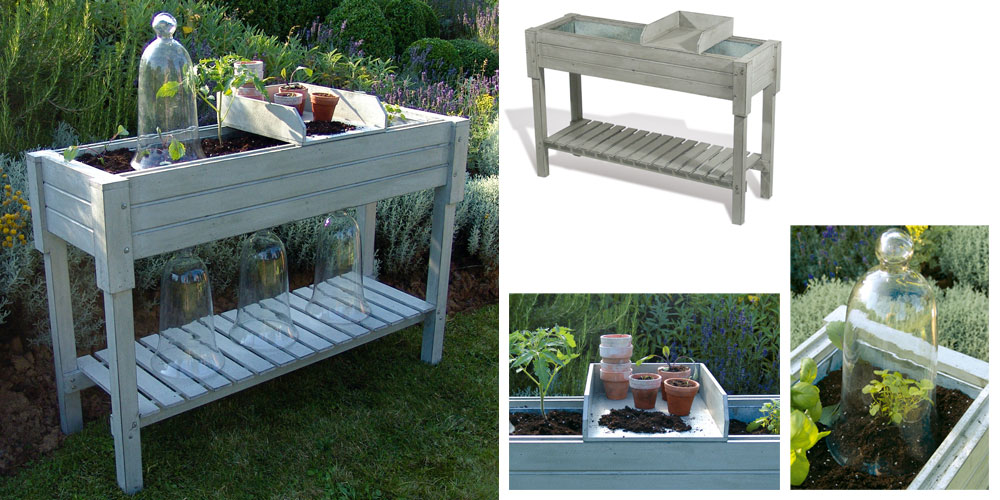 Meuble de jardin : table potagère en bois