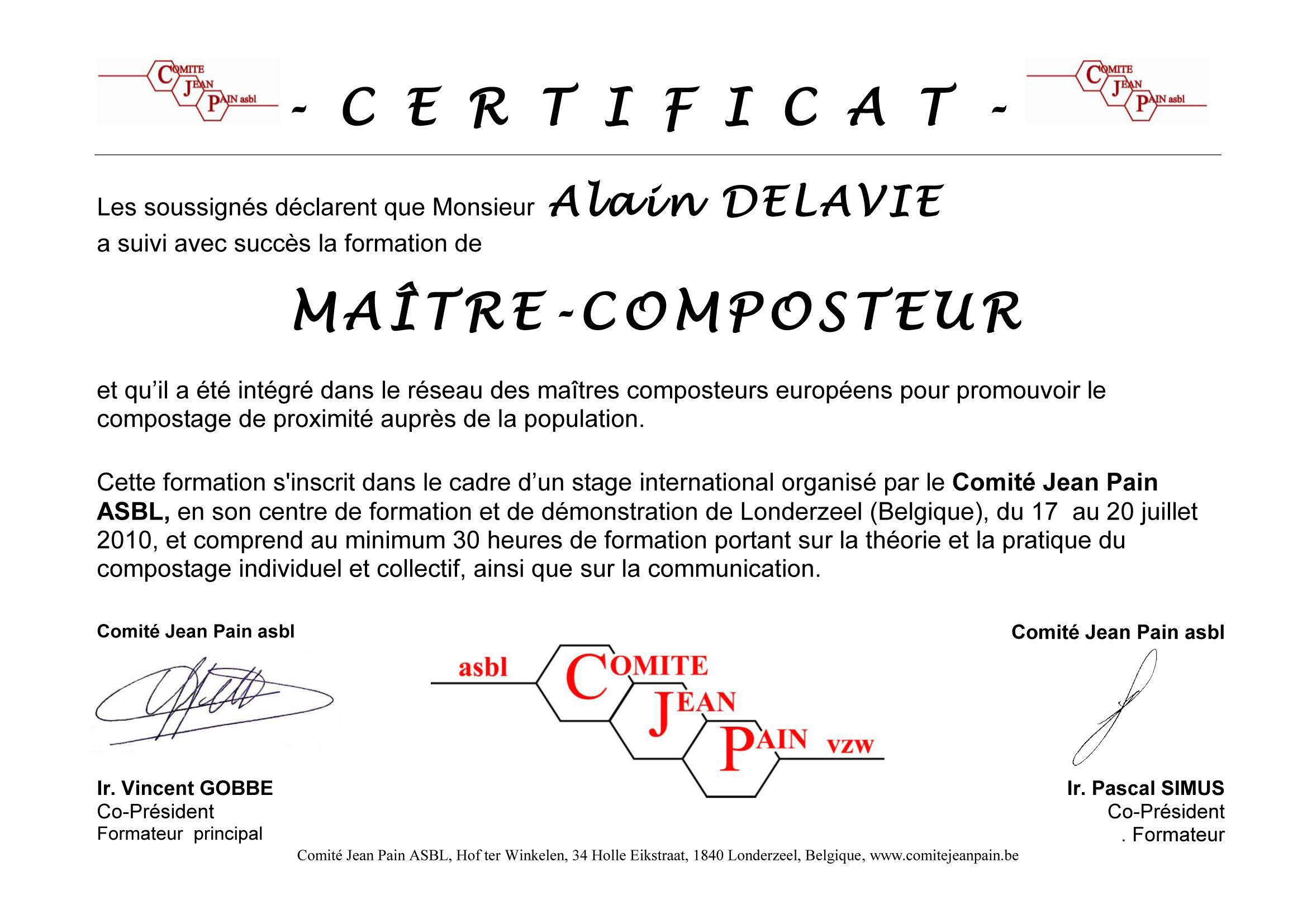 Certificat de Maître Composteur