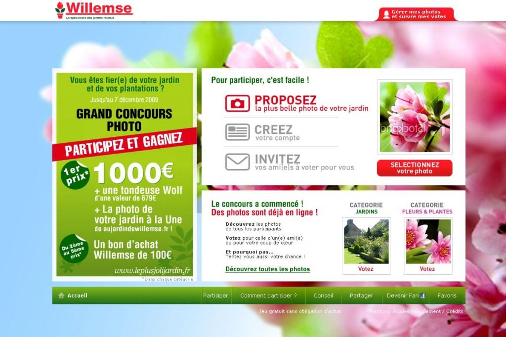 Page d'accueil du site Le plus joli jardin (Willemse)