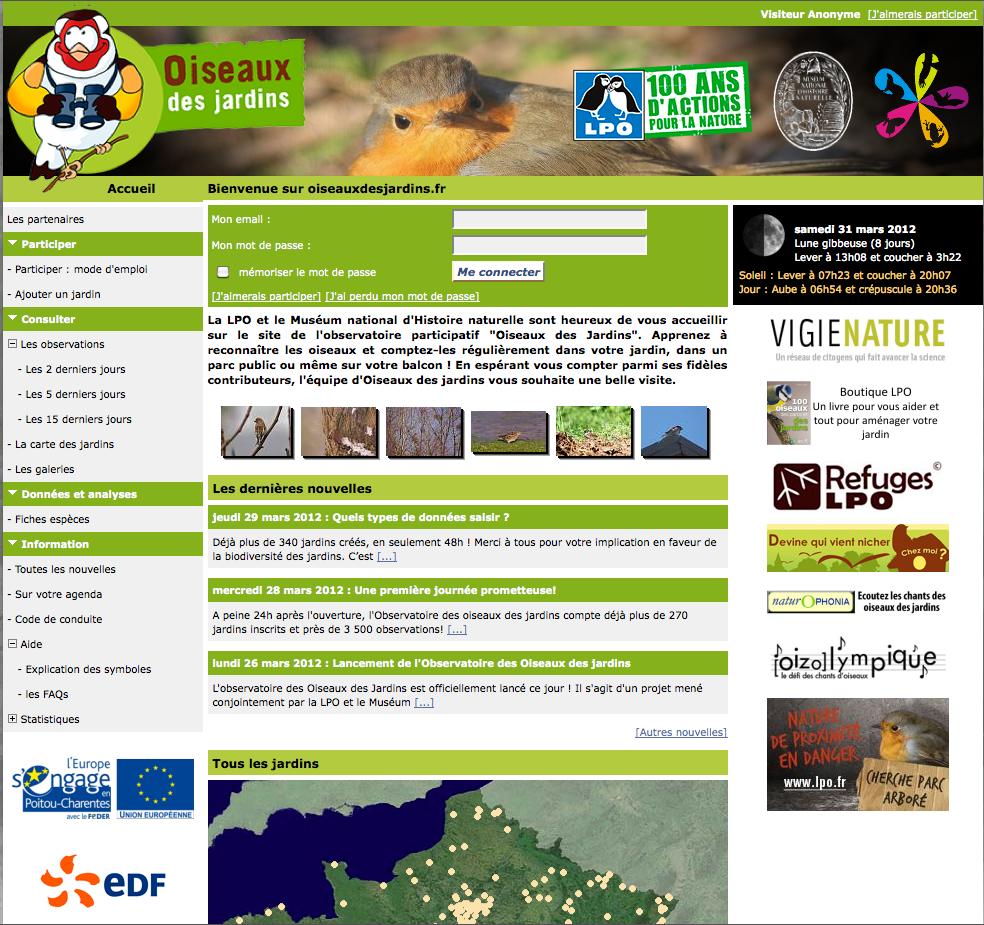 Capture d'écran du site Internet Oiseaux des jardins