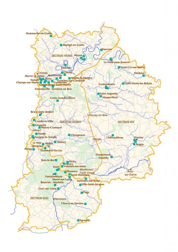 Carte des jardins à visiter en Seine-et-Marne