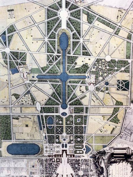 L'Etoile royale est une composition de Le Nôtre située à l'extrémité ouest du Grand Canal (en haut sur cette image).