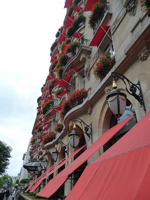 Pélargoniums sur la façade fleurie de l'Hôtel Plaza Athénée, Paris 8e (75)