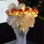 Bouquet de roses dans un vase Daum