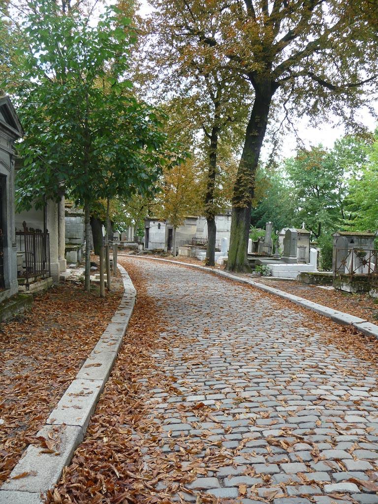 Allée et trottoir jonchés de feuilles mortes de marronniers dans le Cimetière du Père Lachaise, Paris 20e (75)