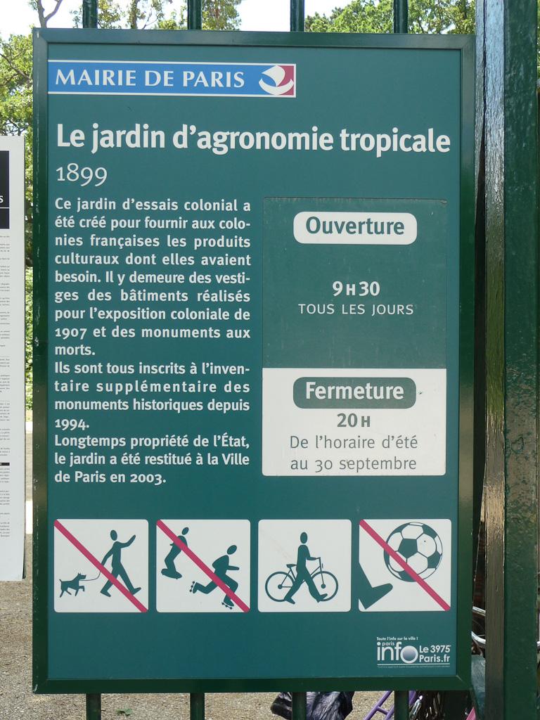 Le jardin d'agronomie tropicale, Bois de Vincennes, Paris 12e (75)