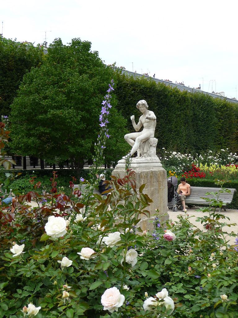 Rosiers et statue Le charmeur de serpent (Adolphe Thabard) dans le jardin du Palais-Royal, Paris 1er (75), 26 juillet 2011, photo Alain Delavie
