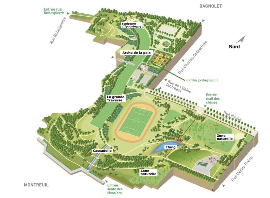 Plan du parc départemental Jean-Moulin - Les Guilands à Bagnolet (93)