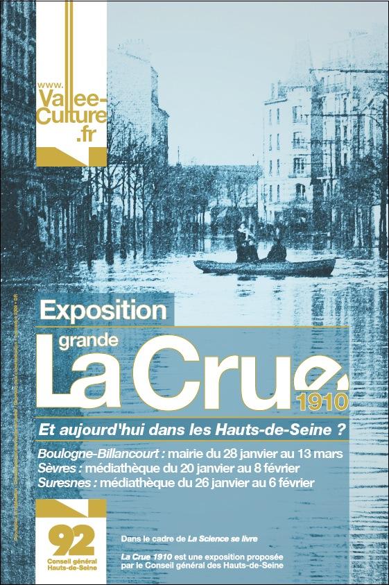 """Affiche de l'exposition """"La grande Crue 1910 Et aujourd'hui dans les Hauts-de-Seine ?"""""""