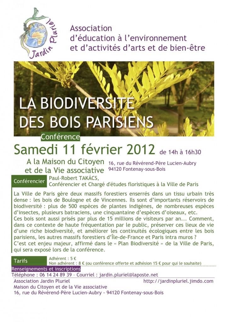 Conférence La biodiversité des bois parisiens