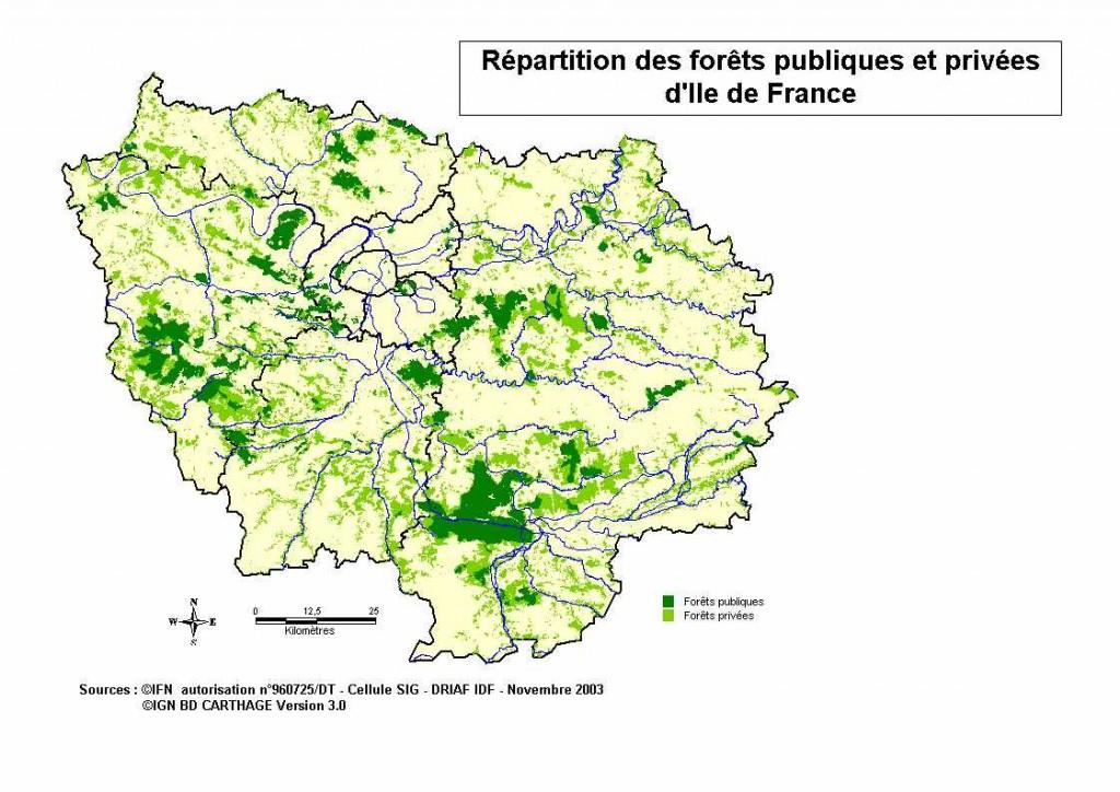 Carte des forêts privées et publiques d'Île-de-France (2003)