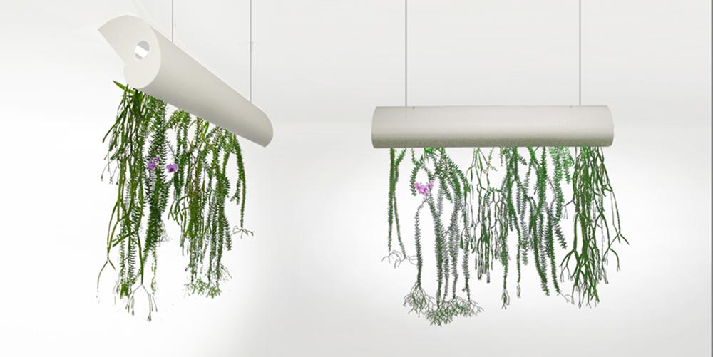 Phi, luminaire et jardin suspendu créé par Paul Louis Duranton