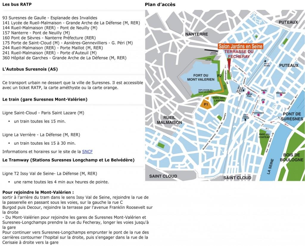 Plan d'accès à Jardins en Seine 2012