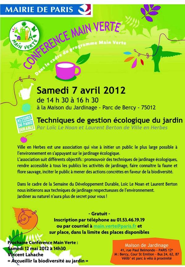 Conférence Techniques de gestion écologiqus du jardin